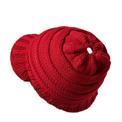 Chunky Tweed Hat - Hmlai Women Ponytail Beanie Winter Baggy Warm Crochet Wool Knit Hat Stretch Ski Slouchy Ribbed Cap (Wine Red)