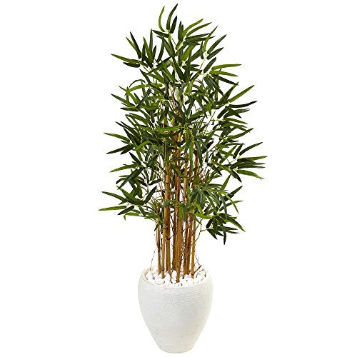 Nearly Natural 4' Bamboo Artificial Tree in White Oval Planter, Green ()