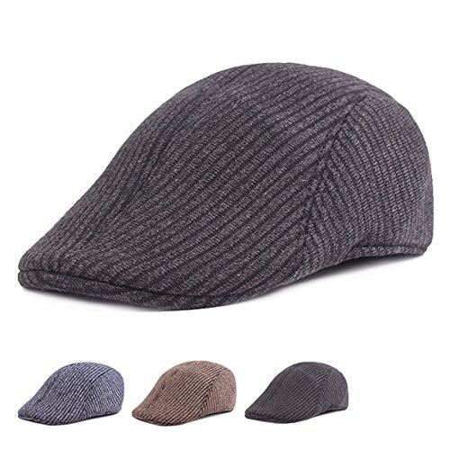 b3deab70 Mens Winter Cotton Thickening Peaked Caps Solid Warm Outdoor Stripe  Windproof Warm Beret Hats