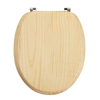 Cooke Lewis Toilet Seat Solid Pine Natural Wood Simple