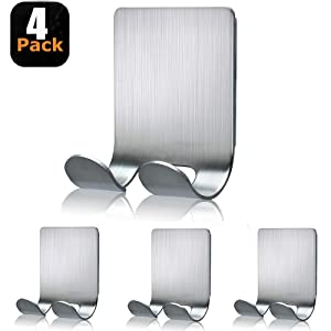 Razor Holder for Shower Shaver Hook Hanger Stand Stainless Steel Heavy Duty Utility Storage Self Adhesive Hooks Bathroom Kitchen Organizer for Razors Plug Robe Towel Loofah Bathrobe Coat-4 Packs