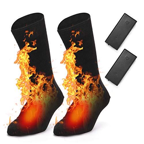 Lixada Verwarmde wintersokken, warme elektrische verwarmde sokken voor dames en heren, voor fietsen, skiën, kamperen…