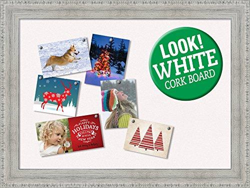 Wash Framed (Amanti Art Rustic Framed Whitewash Christmas Card Cork Board, 33 x 25)