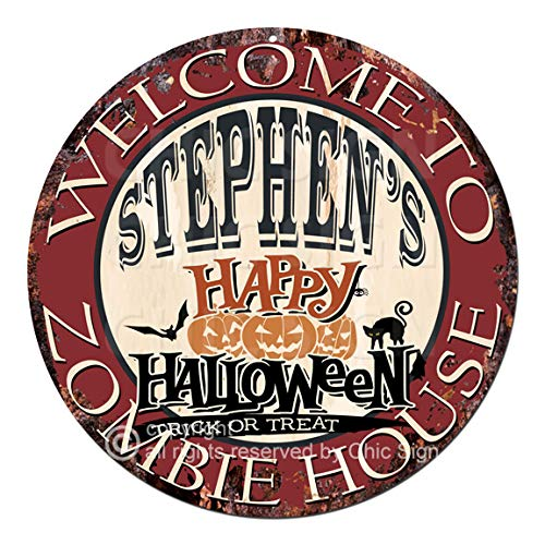 Welcome to The Stephen'S Happy Halloween Zombie House Chic Tin Sign Rustic Shabby Vintage Style Retro Kitchen Bar Pub Coffee Shop Man cave Decor Gift Ideas
