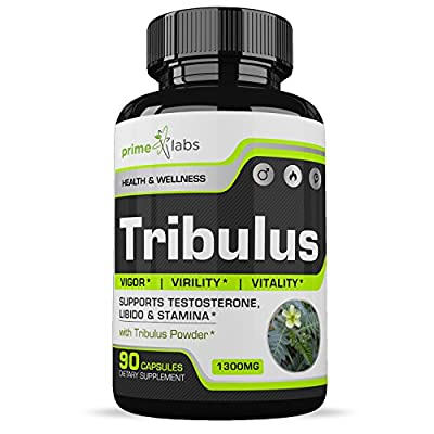 Prime Labs Tribulus Terrestris Supplement- Natural Testosterone Booster Support for Men and Women, Steroidal Saponin Formula to Boost Libido, Endurance, Stamina and Enhance Energy - 45 Servings