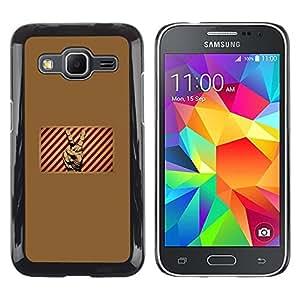TECHCASE**Cubierta de la caja de protección la piel dura para el ** Samsung Galaxy Core Prime SM-G360 ** Victory Sign Symbol Red White Stripes Poster