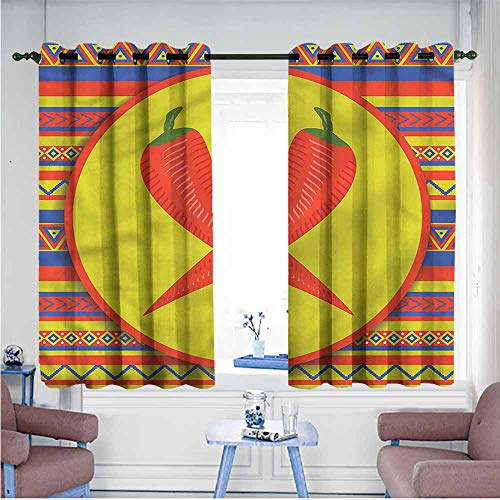 VIVIDX Curtains for Bedroom,Mexican,Two Red Chili Peppers,Hipster Patterned,W72x63L