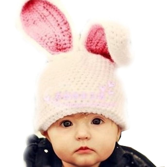 Arkind coniglio orecchio Inverno Caldo carina lavorato a maglia knit orecchie  di gatto uncinetto Berretto beanie Cappello con orecchio ragazze ragazzo  0-3 ... f8afc219a0b0