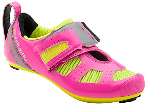 Louis Garneau - Women's Tri X-Speed 3 Triathlon Bike Shoes, Pink Glow/Bright Yellow, US (8), EU (39)