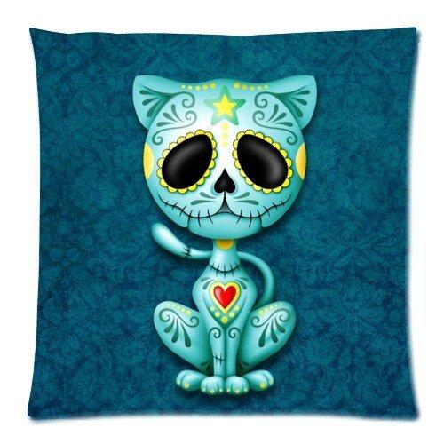 (Diy-Hot Blue Zombie Sugar Kitten Zippered Pillow Case 18X18 (Twin Sides) )
