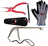 Cheap Berkley Fishing Combo Bait Pliers, Hook Remover, Gloves (Blue Red Combo)