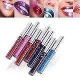 Coosa 7 Colors Glitters Shimmer Flip Lip Gloss Set Non-stick Cup Waterproof pigment Nude Glitter Diamonds Pearl Liquid Lipstick kit (7PCS)