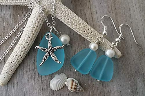 Handmade in Hawaii, turquoise bay blue sea glass necklace + earrings jewelry set, starfish charm, fresh water pearl, sterling silver chain, Hawaiian Gift, FREE gift wrap, FREE gift -