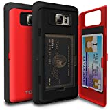 Galaxy Note 5 Case, TORU [Note 5 Wallet Case Red] Protective Slim Fit Dual Layer Hidden Credit Card Holder ID Slot Card Case with Mirror for Samsung Galaxy Note 5 - Red