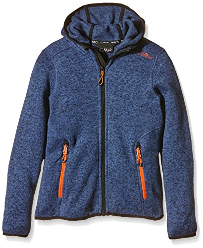 CMP Mädchen Fleecejacke Knitted Fix Hood, storm-nero, 152, 3H19825