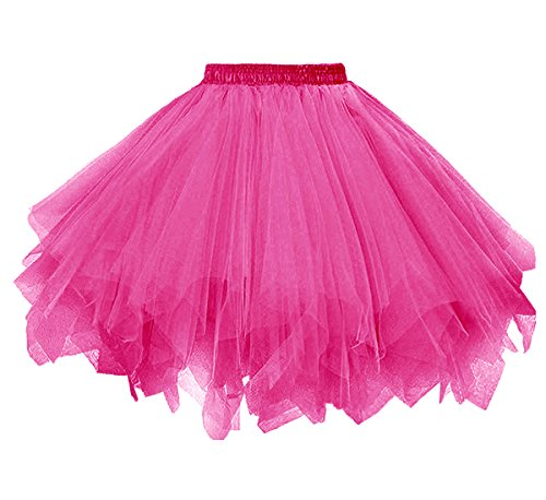 [Dressever Vintage 1950s Short Tulle Petticoat Ballet Bubble Tutu Fuchsia Small/Medium] (Tutus For Adults)