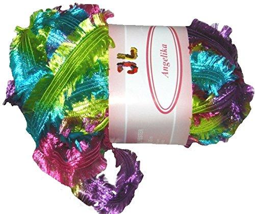 Angelika Fringe Ribbon Yarn #804 Parrot Pack of 3 Balls