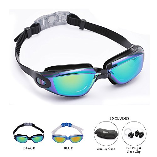 Adult Swim goggles Black by Bezzee-Pro - Anti-Fog Coated Color Mirrored Lens with Leak Proof Eye Cups, Best Pool Glass for Swimming, With Quality Goggle Case, Nose Clip & Ear Plugs