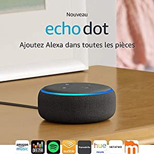 Nouvel Echo Dot (3ème génération), Enceinte connectée avec Alexa, Tissu anthracite