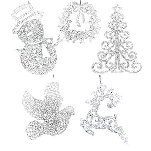BANBERRY DESIGNS Large Glitter Christmas Ornaments - Set of 5 Assorted Styles - Snowman, Deer, Wreath, Dove and Xmas Tree - White Christmas Decor (White Ornaments Deer Christmas)