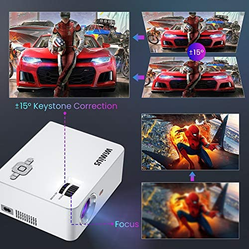 """WiFi Projector, New WiMiUS S2 Portable Mini Projector w/ 6000 Brightness High Contrast Lumens & 5W HiFi Speaker, Support 1080P and 250"""" Screen, Compatible w/ Laptop, iPhone, Android, Fire TV Stick"""