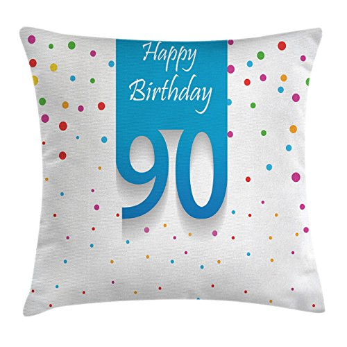 Birthday Decoration Ideas For Home (90th Birthday Decorations Throw Pillow Cushion Cover by Ambesonne, Stylized Framework with Hand Writing Ninety Years Old Polka Dots, Decorative Square Accent Pillow Case, 18 X 18 Inches, Multicolor)