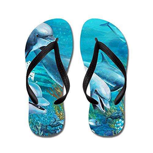 Cafepress Prachtige Dolfijnen Schilderij - Flip Flops, Grappige String Sandalen, Strand Sandalen Zwart