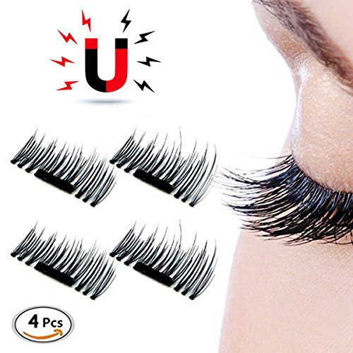 1 Piece Generic (3D Magnetic False Eyelashes - Magnetic Fake Eyelashes Handmade Magnetic Eyelashes Reusable Fake Magnet Eye Lashes Ultra-thin Magnetic Eyelash Extensions for Natural Look, Cruelty Free, 1 Pair 4 Pieces)