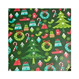 3 Rolls Wrapping Paper Decoration Premium Gifts Box DIY Wrapping Paper, Cute Xmas Tree/Santa Clous/Snowflake/Candy Cane Elements for Family Party, Birthday, or Any Special Occasion (F)