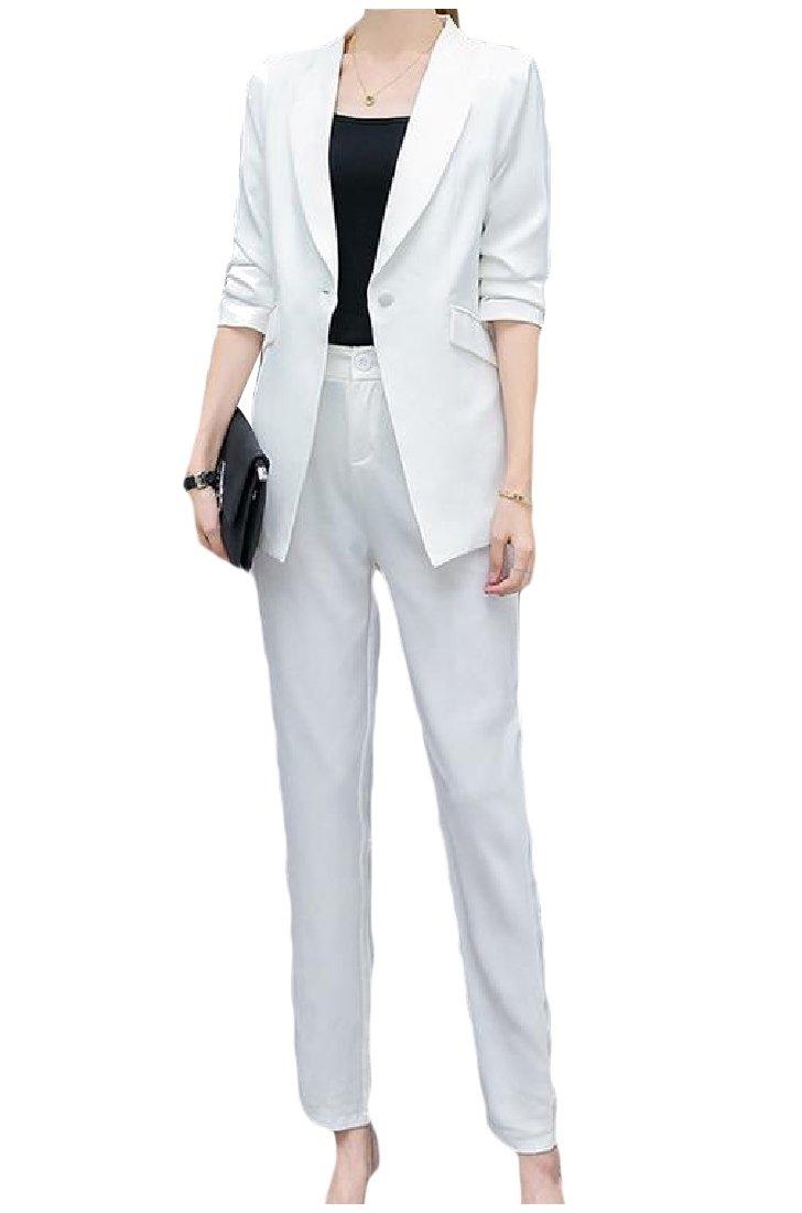 ANDYOU-Women Trim-Fit Solid Color Blazer Jacket and Pants Suit Set White L