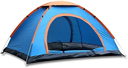Sports God 3 Person Automatic Instant Setup Pop Up Tent For Hiking And Camping With Carry Bag Blue Sports Outdoors