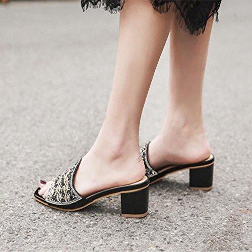 strass Primavera Scarpe Moda Sandali comode Estate Pantofole da Scarpe Black con donna Spessore nero Oro GAOLIXIA wA8Uqq