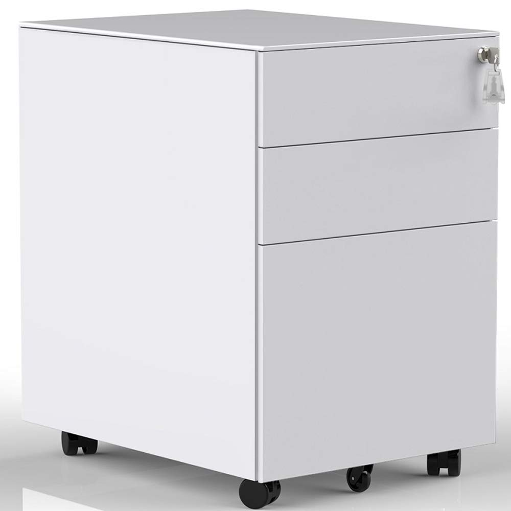 3 Drawers Mobile File Cabinet with Lock, Under Desk File Cabinet with Wheels, Fully Assembled (White) by ModernLuxe