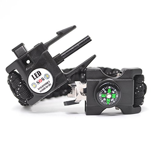 Auchee LED SOS Emergency Paracord Bracelet |The ULTIMATE 15 in 1 Tactical Survival Gear| Perfect for Cycling Hiking Camping Fishing Hunting (Black Reflective, Cobra 8.5inch)