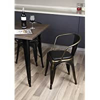 GIA Metal Dining Chairs With Back, Leather Cushion Seat, Antique Vintage Bronze, Tolix Style, Loft Appearance, Ready To Use Weight Capacity 300 Plus Pounds, Extra Durable And Stackable, Set of 2