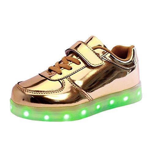 UDreamTime Kinder 7 Farben LED Leuchtende Mode Sportschuhe Flashing  Turnschuhe Gold
