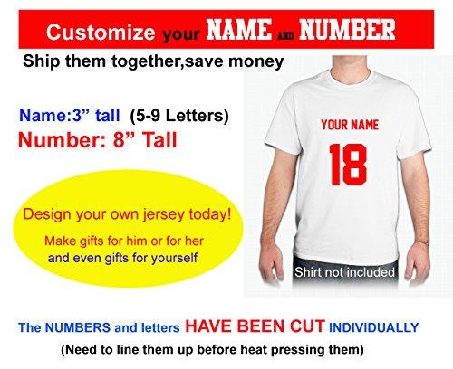 (Custom Your Text & Number,Hockey HelmetJerseys, uniforms, or any T-shirt decoration,Heat Transfer Vinyl,iron on Heat Transfer ((Style A font,Name:3