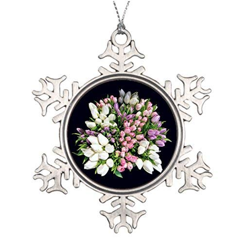 (Acove Xmas Trees Decorated Flowers Western Christmas Snowflake Ornaments 3 inch )