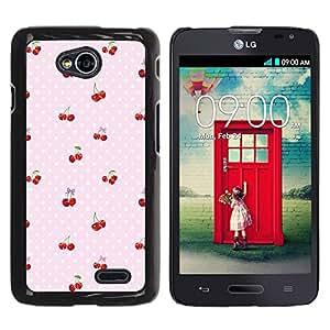 Caucho caso de Shell duro de la cubierta de accesorios de protección BY RAYDREAMMM - LG Optimus L70 / LS620 / D325 / MS323 - Dot Berries Pink Pattern