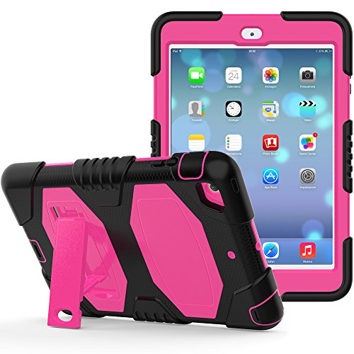 iPad Mini Case, iPad Mini 2 Case, iPad Mini 3 Case, Rugged Kickstand Series - Shockproof Heavy Duty Hybrid Three Layer Armor Defender Kids Child Proof Case Cover - Black Pink
