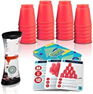 Gamie Stacking Cups Game with 18 Fun Challenges and Water Timer, 24 Stacking Cups, Sturdy Plastic, Classic Fam