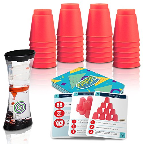 Gamie Stacking Cups Game w/18 Fun Challenges & Water Timer, 24 Stacking Cups, Sturdy Plastic, Classic Family Game, Travel & Summer Game for Kids, Tons of Fun!