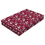 Lunarable Hearts Dog Bed, Ornate Cute Vibrant Toned Hearts Pattern Love Themed Valentines Day Inspired Image, Durable Washable Mat with Decorative Fabric Cover, 48'' x 32'' x 6'', Multicolor