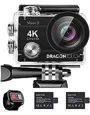 Dragon Touch Action Cam 4K 16MP Vision 4 Unterwasserkamera Externes MIC unterstützt WiFi Sportkamera mit EIS Fernbedinung Zubehöre Action Camera wasserdicht Kamera mit 2 Akkus