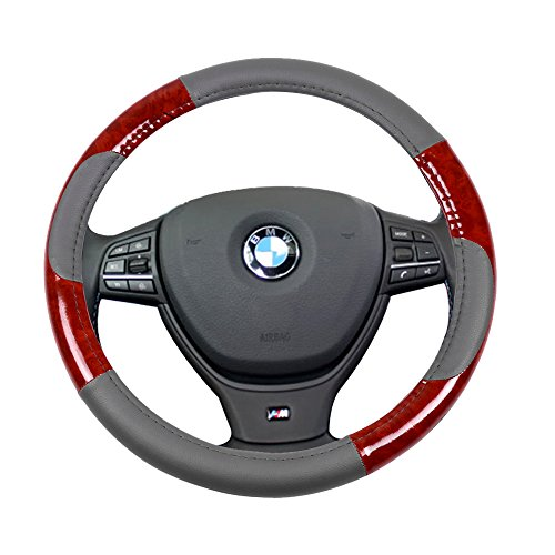 SCITOO Grey/Brown Wood Grain Universal 15 Inch Steering Wheel Cover PVC Leather Protection Breathable Auto Steering Wheel Cover ()