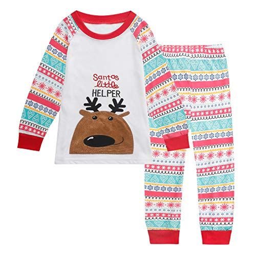 Tkala Fashion Girls Pajamas Children Clothes Set Deer 100% Cotton Little Kids Pjs Sleepwear (5, 1-Christmas) -