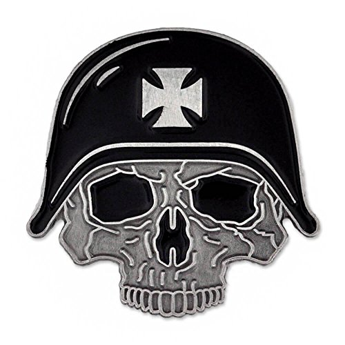 PinMart Skull and Helmet with Cross Biker Jacket Vest Enamel Lapel Pin - Biker Jacket Pin