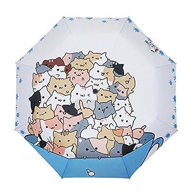 Rain's Pan Anime Cat Backyard Windproof Manual Triple Folding UV Umbrella 8 Ribs Adult low-cost