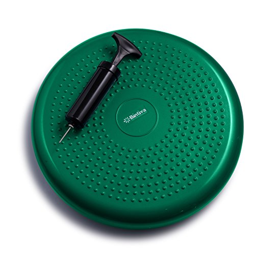 bintiva Inflated Stability Wobble Cushion, Including Free Pump/Exercise Fitness Core Balance Disc -
