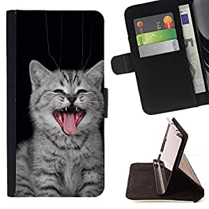For LG G2 D800 Cat Yawn Leather Foilo Wallet Cover Case with Magnetic Closure